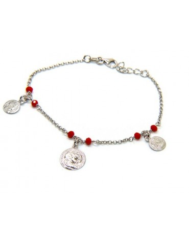 NALBORI Woman bracelet Silver 925 red crystal ancient coin