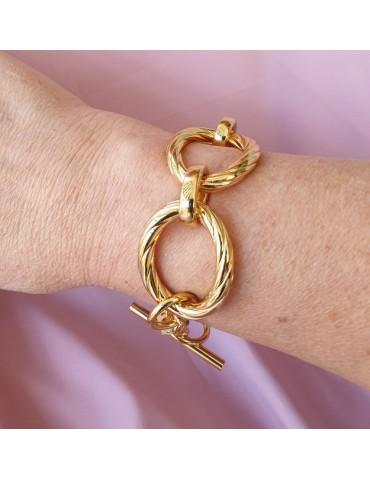 Bronzo anallergico placcato oro giallo, grande bracciale donna con ovali torchon