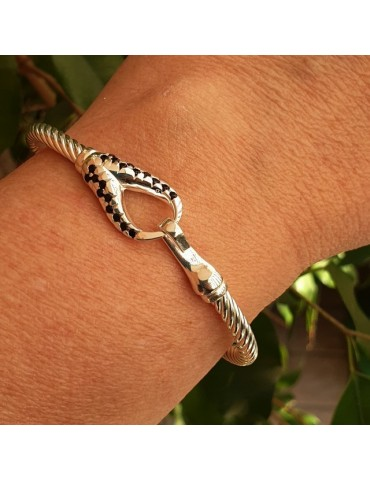 NALBORI cable bracciale argento 925 gancio e zirconi neri