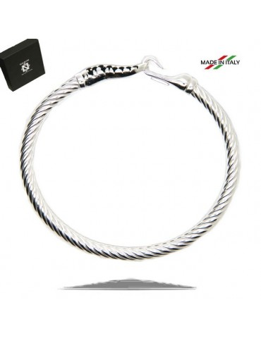 NALBORI Cable bracelet with rigid cable with natural black zirconias