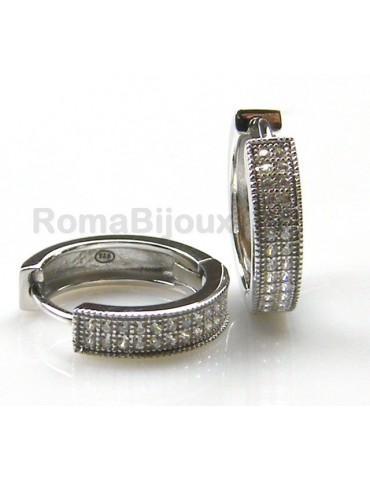 Argento 925 : orecchini donna anelle cerchi 2 file zirconi bianchi scattino rodiati