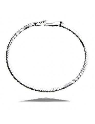NALBORI Cable bracelet round hook with black zircons in 925 silver