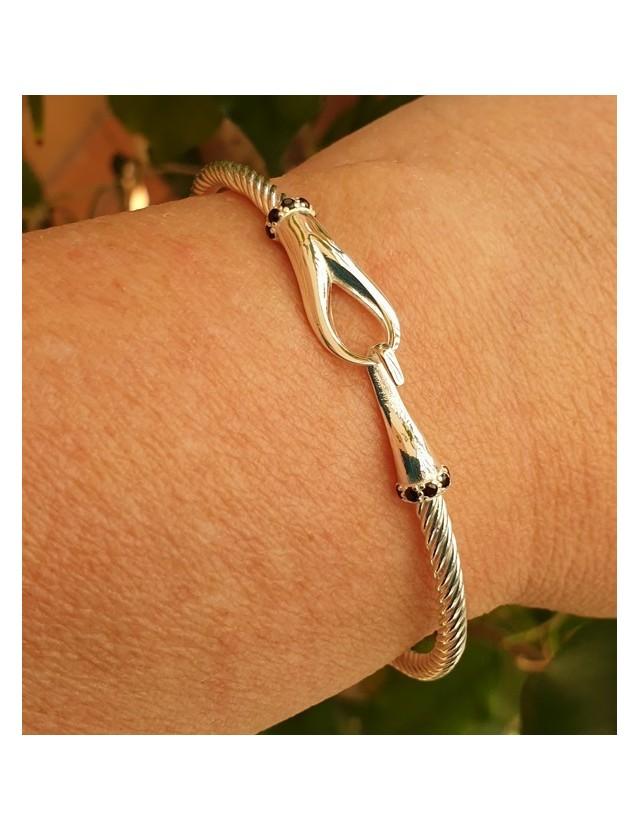NALBORI Cable 925 silver hook bracelet and black stones