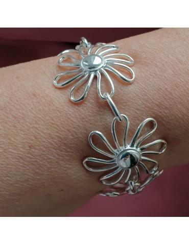 NALBORI bracciale donna argento 925 grandi margherite fiori