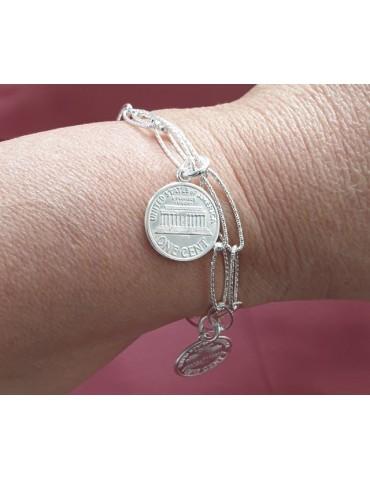 Bracciale donna con ciondoli monete USA polso 17,50 cm Nalbori