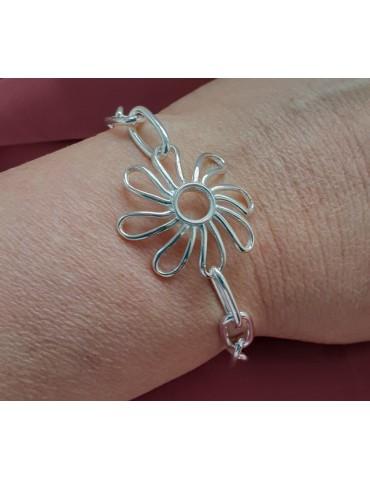 nalbori Bracciale donna argento 925 con Fiore Margherita centrale 17 cm