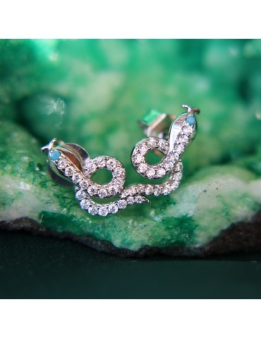 NALBORI 925 silver snakes earrings with contrariè zircons