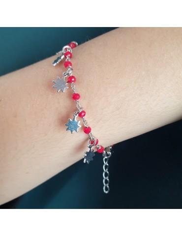 NALBORI 925 Silver bracelet with red or black sun pendants