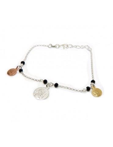NALBORI Bracciale donna Argento 925 monete 3 colori cristallo nero