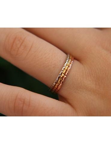 Argento 925 Italiano : anello fusione 3 colori (oro bianco giallo rosa) diamantato  sottile filo