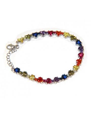 NALBORI Tennis bracelet hearts zircons in 925 silver rainbow