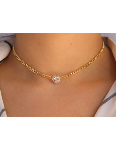 NALBORI choker heart big zircon 925 silver necklace