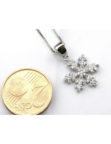 silver 925 Necklace Collier Venetian woman 44 cm and snowflake microsetting