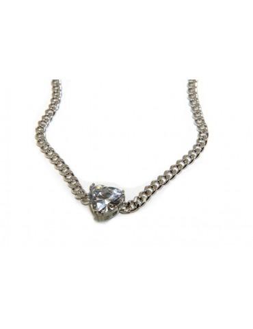 NALBORI choker heart big zircon 925 silver necklace