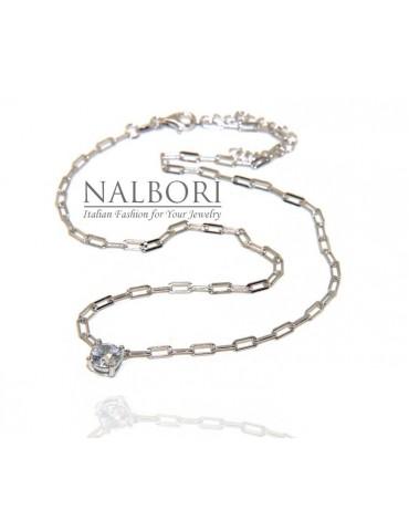 NALBORI round zircon choker 925 silver staples necklace