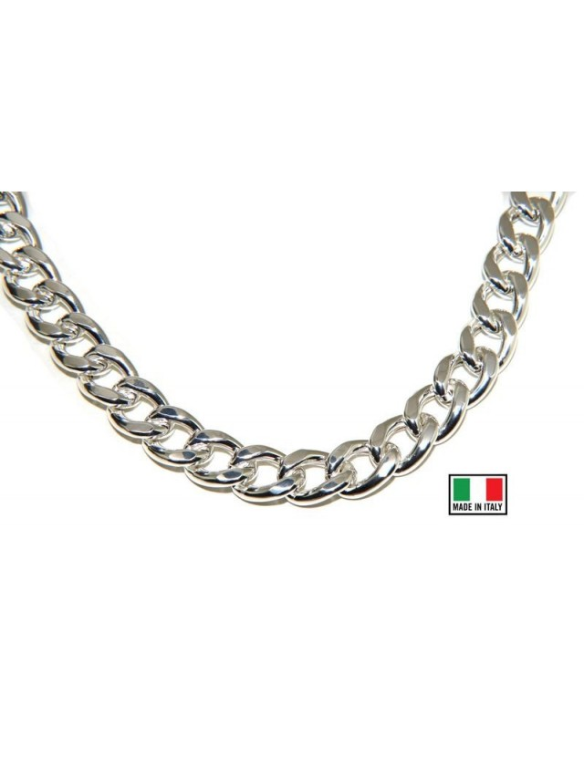 NALBORI 925 silver diamond-coated large gourmette necklace or bracelet 13 mm