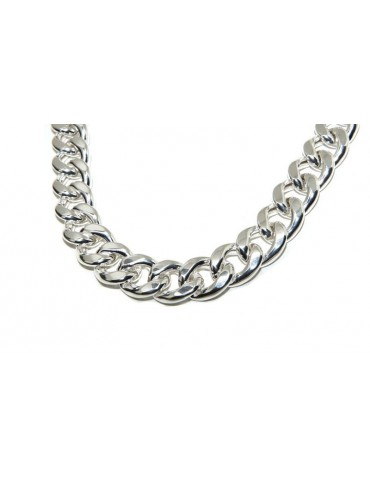NALBORI bracelet or curb necklace 17.5mm large 925 silver diamond