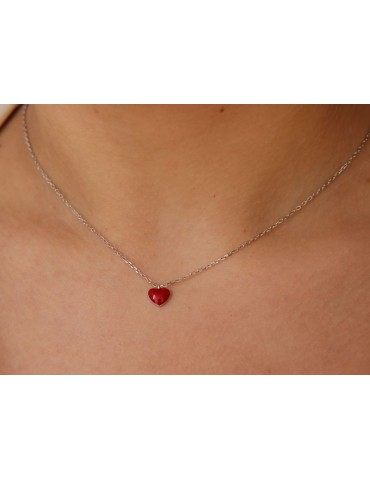 NALBORI woman necklace 925 silver red enameled heart