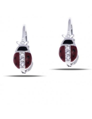 925 silver earrings with red ladybug and zircons