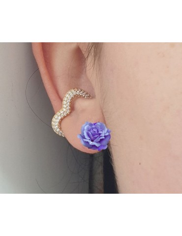 Heart tragus in 925 silver, yellow gold plated, without hole, zircons