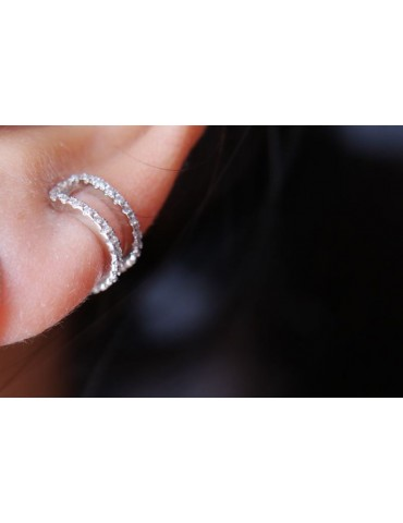 Tragus 2 rows in 925 silver rose gold rhodium plating without hole zircons