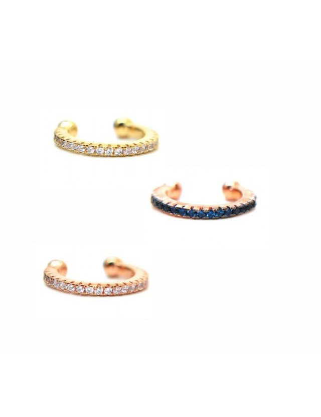 yellow rose gold plated 925 silver tragus with white colored zircons
