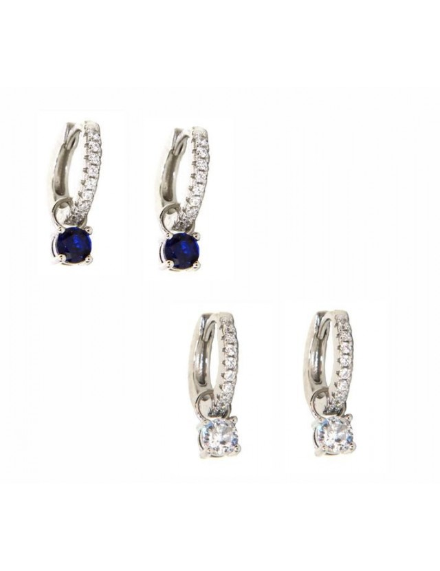 925 silver hoops earrings with double use zircon pendants