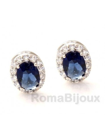 silver 925 oval button stud earrings woman blue sapphire stone 11x9mm zircons