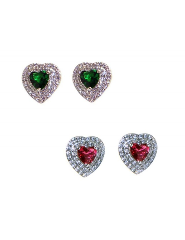 925 silver heart earrings with double round green and red zircons
