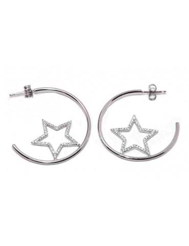 NALBORI 925 silver earrings circles with zircon stars
