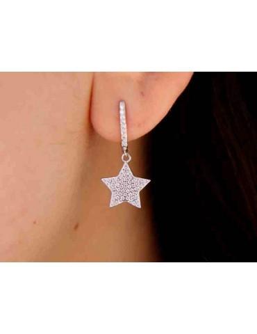 NALBORI 925 silver earrings circles pendants stars zircons