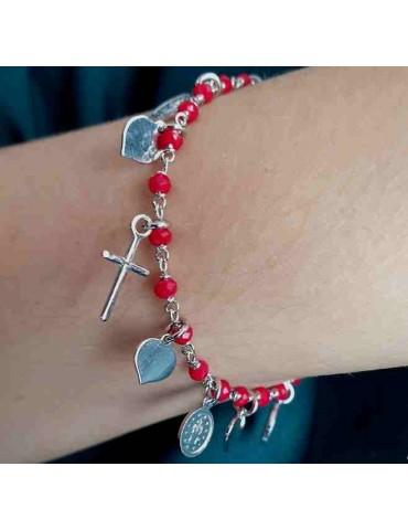 NALBORI Bracciale rosario in Argento 925 madonna cuore croce rosso