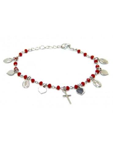 NALBORI 925 Sterling Silver rosary bracelet madonna heart red cross