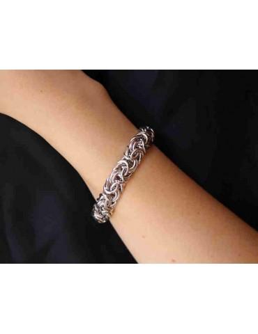 NALBORI : bracciale donna maglia bizantina in argento 925 grande