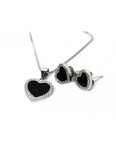 NALBORI complete 925 silver necklace earrings heart onyx zircons