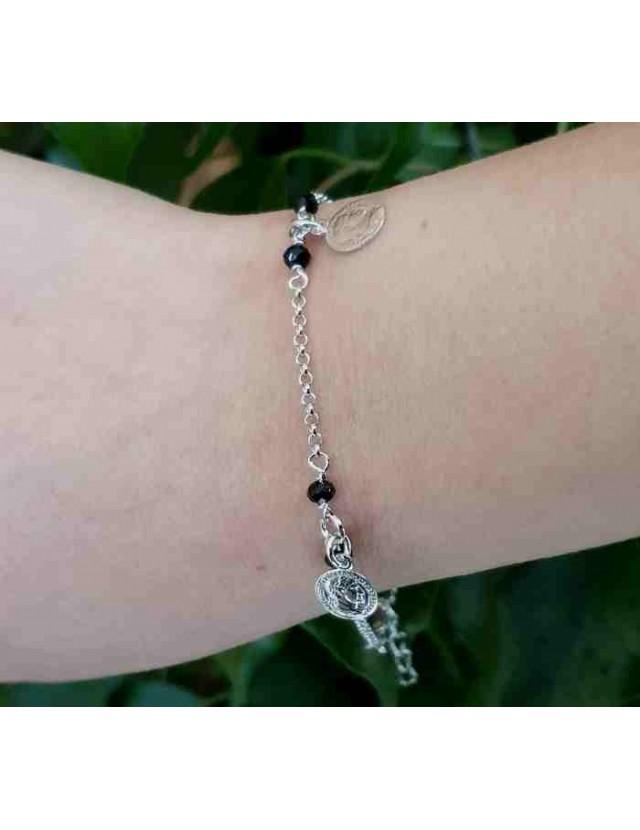 NALBORI Bracelet Silver 925 black crystal with coin pendants