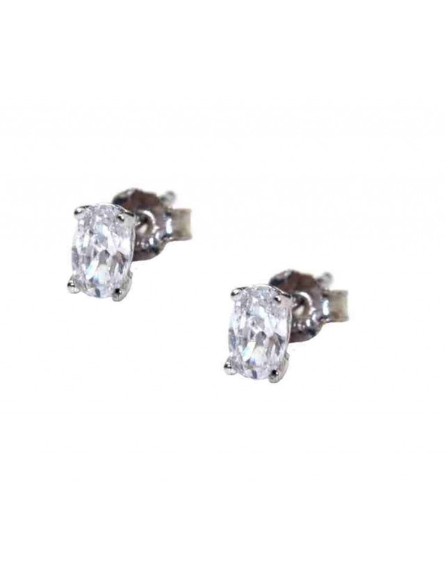 925 silver small oval earrings with white cubic zirconia (one pair)