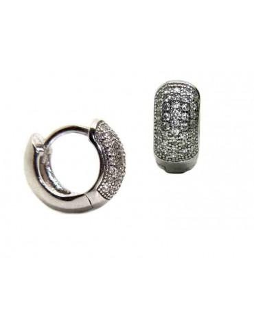 NALBORI 925 silver micro hoops earrings small 5 rows of cubic zirconia 12mm