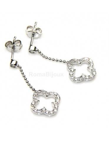 silver 925: earrings woman leaning point light chain balls cloverleaf zircons