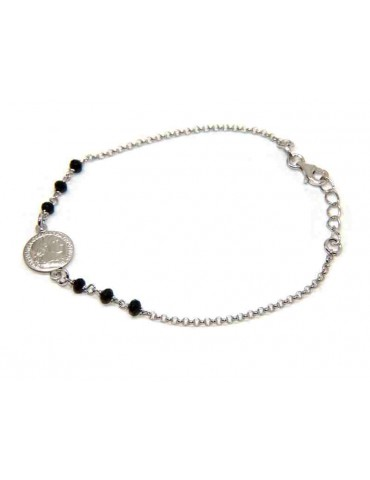 Coin bracelet all 925 silver and black crystals - NALBORI
