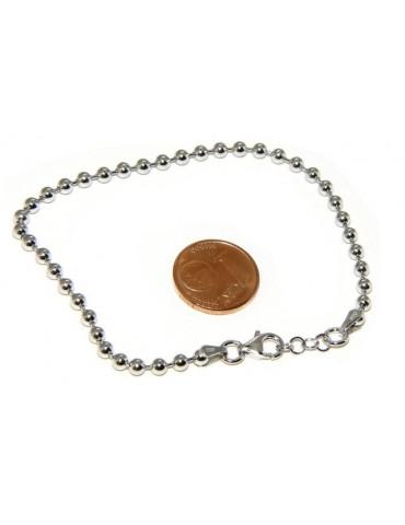 SILVER 925: Bracelet man woman with balls 3 mm rhodium galvanic
