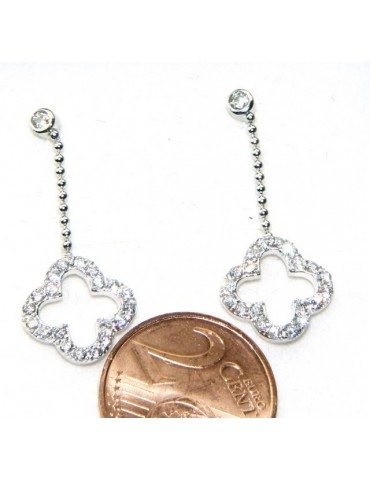 silver 925: earrings woman leaning point light chain balls cloverleaf zircons