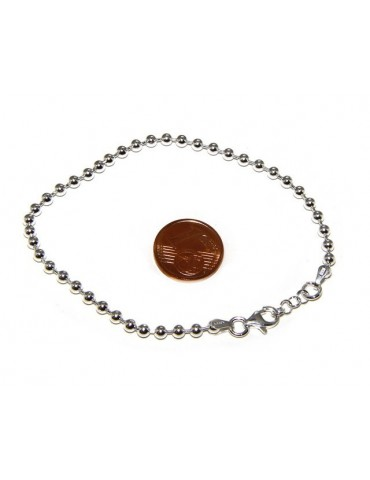 SILVER 925: Bracelet man woman with balls 3 mm clear galvanic