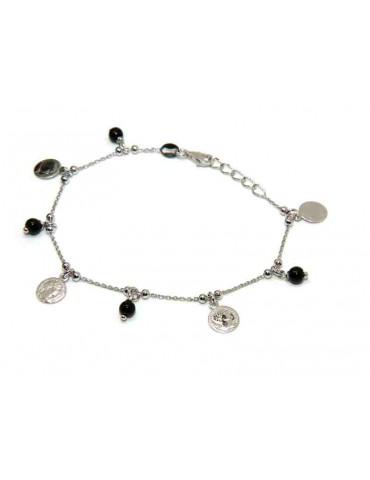 bracelet or necklace 925 silver black pearls and coins pendants