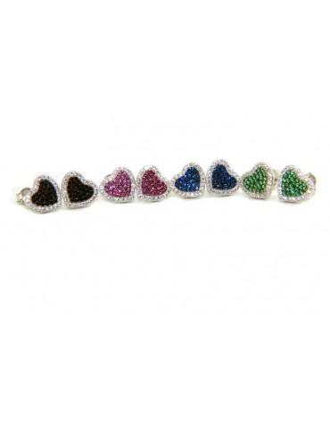 orecchini Argento 925 a cuore zirconi verde rosa nero blu marca NALBORI