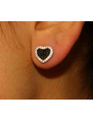 925 silver heart earrings with zircons green pink black blue brand NALBORI