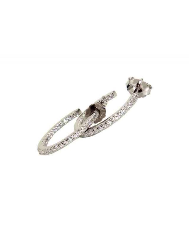 925 silver earrings circles zircons internal external 1,9cm brand NALBORI
