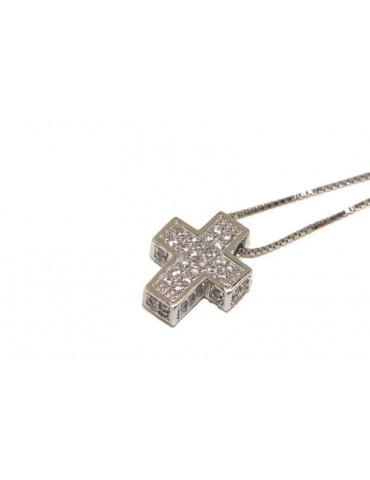 Collana Collier uomo donna argento 925 croce 3D a pavè di zirconi marca nalbori oro bianco