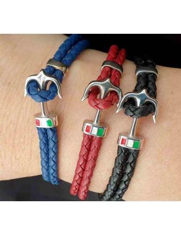 bracelet 925 silver and leather for men anchor black blue red NALBORI