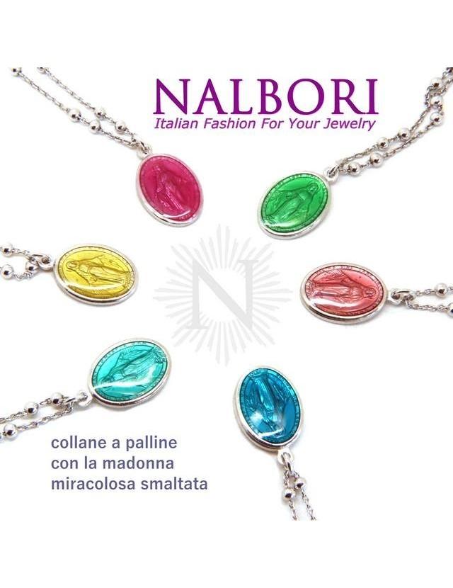 NALBORI Collana Rosario uomo donna Argento 925 con medaglia smaltata madonna miracolosa colorata